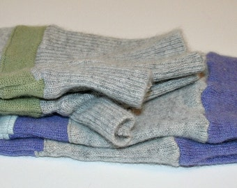 Recycled Soft Gray, Plum and Green Cashmere Fingerless Arm Warmers Fingerless Gloves