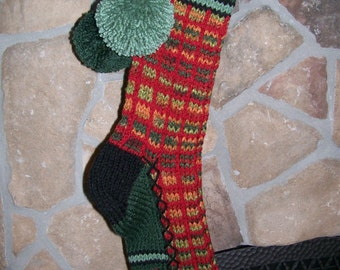 Old Fashioned Hand Knit Fall Rainbow and Ranch Red Windowpane pattern with Ranch Red Heart detail Christmas Stocking