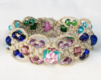 Cool Natural Rainbows - Micro Macrame Hemp Bracelet Cuff with Lampwork and Glass Beads - Flower Bead Lace Hemp Jewelry