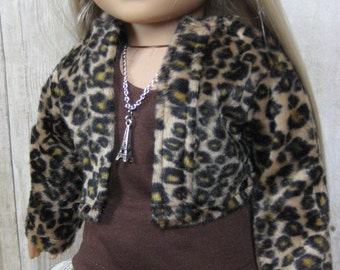18 inch Doll Clothes American Girl Paris Postcards Outfit with Necklace