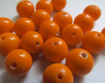 Vintage Glass Beads (16)(8-9mm) Tangerine Handmade Japanese Beads
