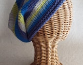 Happy Stripe Hat, Tam, Toque, Beanie, Slouch, Slouchy, Cotton, Vegan, Ready to Ship