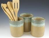 Utensil Holder, Kitchen Crock,  Kitchen Organization, Farmhouse Pottery, Kitchen Gourmet Gift, Spoon Holder, Rustic Decor, Pottery Food Gift