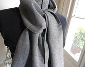 Plaid wool scarf, houndstooth micro check, grey black - eco vintage fabric LAST ONE