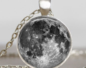 Moon necklace ,Moon Pendant  Moon jewelry silver plated glass dome round bezel  pendant with gift bag