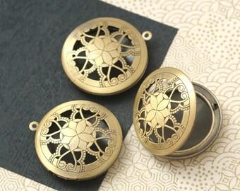 3 pcs antique brass finish round lockets 33mm BN250