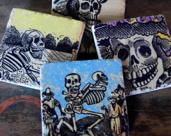 Day of the Dead coasters - set of 4