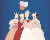 HOLIDAY Cards Set - Girl Party , best friends forever - postcard set of 6