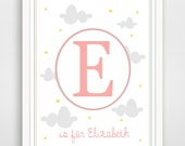 Personalized Children's Wall Art / Nursery Custom Monogram and Name in Clouds and Stars print by Finny and Zook