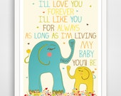 Kids Wall Art / Nursery Decor /Kids Room I'll Love You Forever QUOTE  print by Finny and Zook