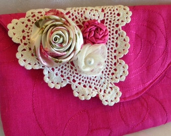 SALE, Special Ocassion/Event, Hot Pink Linen Clutch, Wedding, Birthday, Date Night etc. accessory
