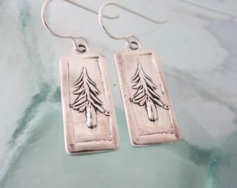 Forest Pine Silver Earrings
