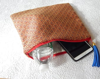 Red multi pouch, floral clutch, zipper pouch, lined pouch, flat pouch, fashion accessory, womens accessory