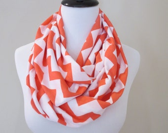 Coral Pink and White Chevron Infinity Scarf - Chevron Scarf - Valentines Day Scarf
