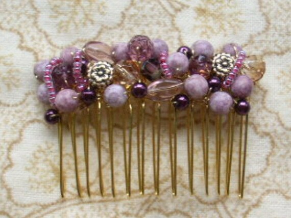 Beaded Purple Hair Comb - Shades of Purple, Wire Wrapped Czech Glass beads
