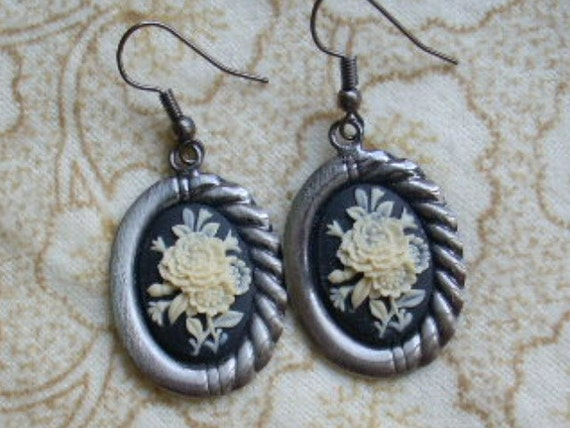 Black Ivory Floral Cameo Earrings in Antique Silver - Valentine's Day gift, Romantic Jewelry