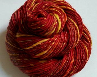 "Handspun Doctor Who Inspired Yarn - BURN WITH ME - Red, Orange, Yellow. Episode ""42"". Fiery. Nerd Knitting, Soft Yarn. 162 yds, 3.17 oz"
