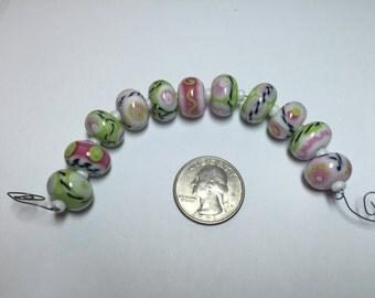 Lampwork Beads Awesome Pink Green Black White Set of 11
