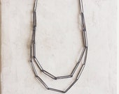 Long Silver Chain | Paper Clip Necklace 2 | Black Silver Chain
