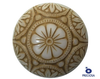 Preciosa White Mosaic Glass Cabochons with Beige 18mm cab756E