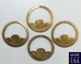 Large Raw Brass Lotus Flower Hoops Charms 33mm (4) mtl036C