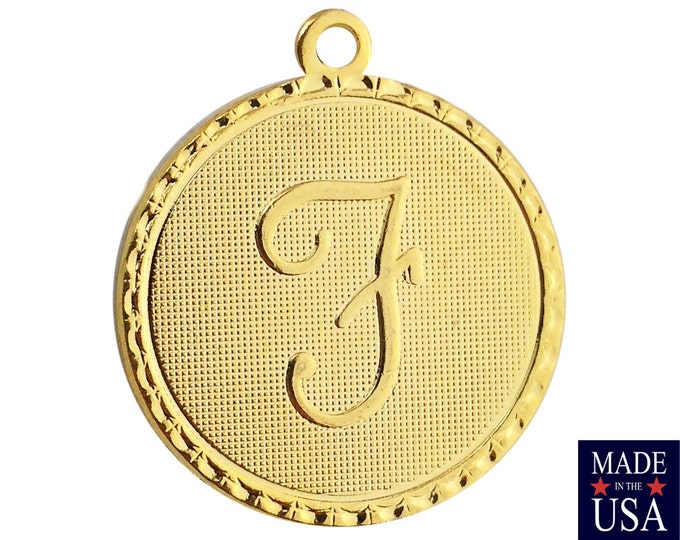 Gold Plated Letter F Initial Charm Drop with Loop (1) chr215F