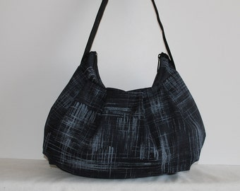 Pleated Bag // Shoulder Purse - Painters Canvas in Charcoal
