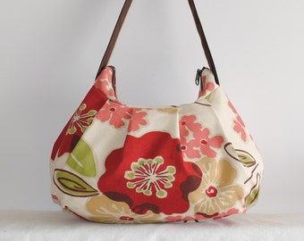 Pleated Bag // Shoulder Purse - Rainforest Green Floral