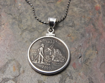 State Coin Necklace California with Sterling Silver Coin Bezel to display the art of your State quarter