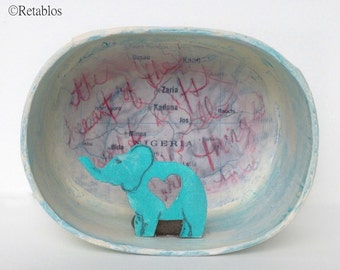 Retablo Folk Art - Proceeds Benefit Animal Rescue, Elephant Nicho, Elephant & Map Diorama, Miniature Elephant, Heart, Patina, Red, Cream