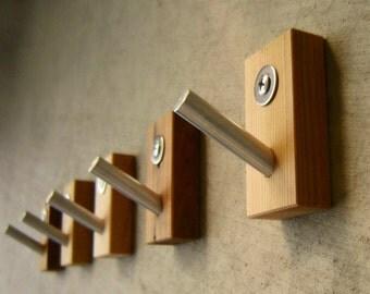 Wall Hooks, Modern Wall Hooks, Wood, Metal, Rustic, Modern Home, Bath, Home Organization, Housewarming, Recycled Wood, Set of Five