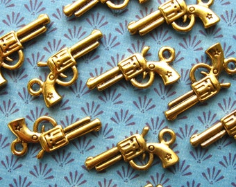 Gold Gun Charms - Set of 10 - Antique Gold Finish Revolver / Gun Charms (BC0012)