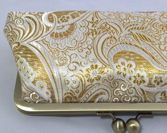 Gold Metallic Paisley Clutch