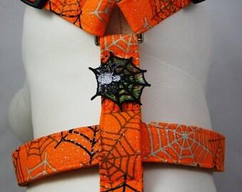 Dog Harness - Orange Webs