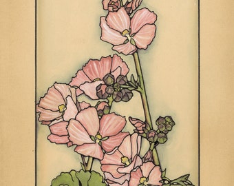 PINK FLOWERS Mixed Media Vintage Drawing
