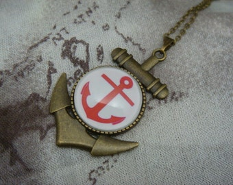Antique Brass Anchor Cameo Necklace - Red and White