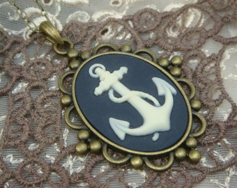 Navy and White Anchor Cameo Necklace