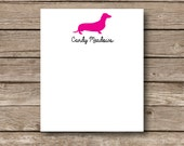Personalized Hot Dog notepads, dog themed desk pads, small desk pads, dachshund notepads, custom office supplies, set of 2 notepads