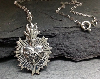 Sacred heart jewelry etsy sacred heart necklace sacred flaming heart with thorns silver heart necklace religious jewelry aloadofball Images