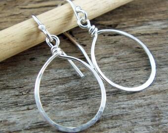 Silver Hoop Dangle Earrings - Argentium Sterling, Small, Minimalist, Simple, Hammered Teardrop