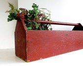 Vintage Wood Log Carrier / Rustic Tool Box Firewood Tote Caddy / Large / Holiday Decor