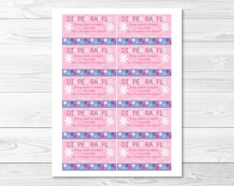 Pink Snowflake Diaper Raffle Tickets INSTANT DOWNLOAD A313