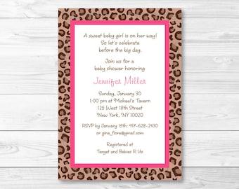 Pink Cheetah Baby Shower Invitation PRINTABLE