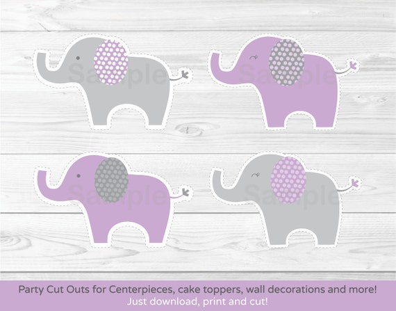 Purple elephant cut outs elephant centerpiece wall for Baby shower decoration cutouts