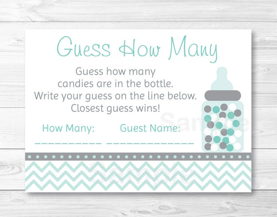 Amazing Guess How Many Baby Shower Game / Candy Guessing Game / Chevron Pattern /  Green U0026 Grey / Gender Neutral Baby Shower / INSTANT DOWNLOAD A230
