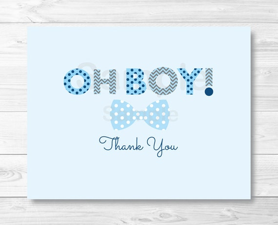oh boy bow tie folded thank you card template    little man