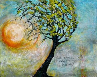 Eternal Sunshine, Sunny Tree Signed Art Print Giclee Text, Typography, Tree of Life, Inspiration Print, Limited Edition