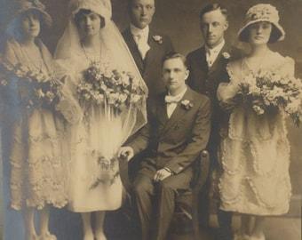 Antique Wedding Photo Early 1900's Sepia