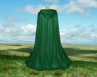 Green Cloak Cape Halloween Costume Fleece Hooded Renaissance Harry Potter