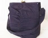Vintage Graceline Master Purse - 1940s Navy Blue Handbag with Change-purse